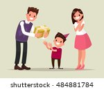 children's birthday. parents... | Shutterstock .eps vector #484881784