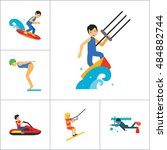 water sport icon set | Shutterstock .eps vector #484882744