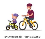 active holidays. father and son ... | Shutterstock .eps vector #484886359