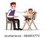 child feeding. father is ... | Shutterstock .eps vector #484893775
