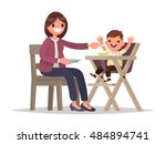 child feeding. mother feeds the ... | Shutterstock .eps vector #484894741