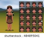 native american indian girl...   Shutterstock .eps vector #484895041