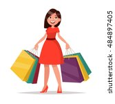happy shopper. the girl holds... | Shutterstock .eps vector #484897405
