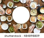 korean food party on flat lay...   Shutterstock . vector #484898809