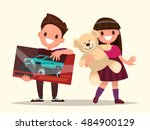 baby gifts. children with toys. ... | Shutterstock .eps vector #484900129