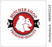 butcher shop black and red logo ... | Shutterstock .eps vector #484903219