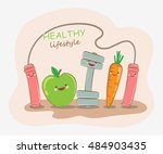 healthy lifestyle. vector... | Shutterstock .eps vector #484903435