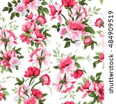 seamless floral pattern with... | Shutterstock .eps vector #484909519