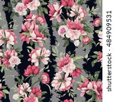 seamless floral pattern with... | Shutterstock .eps vector #484909531