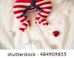closeup photo of baby lying.... | Shutterstock . vector #484909855