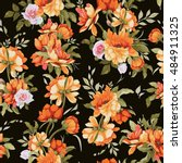 seamless floral pattern with... | Shutterstock .eps vector #484911325