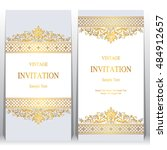 wedding invitation or card with ... | Shutterstock .eps vector #484912657
