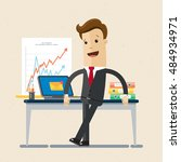 manager or businessman stand... | Shutterstock .eps vector #484934971