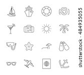 vector travel icon set on white ... | Shutterstock .eps vector #484935055