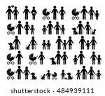 black vector family pictograms... | Shutterstock .eps vector #484939111