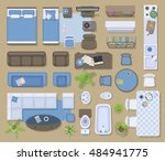 Icons set of interior (top view). Isolated Vector Illustration.  Furniture and elements for living room, bedroom, kitchen, bathroom. Floor plan (view from above). Furniture store. | Shutterstock vector #484941775