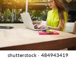 young woman manager is working... | Shutterstock . vector #484943419