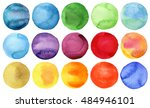 watercolor hand painted circles ... | Shutterstock . vector #484946101
