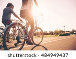 cycling together. low angle... | Shutterstock . vector #484949437