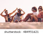 enjoying carefree time with... | Shutterstock . vector #484951621