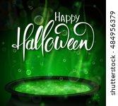 vector halloween poster with... | Shutterstock .eps vector #484956379