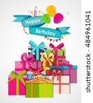 happy birthday card template...   Shutterstock . vector #484961041