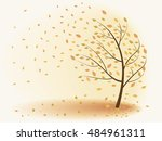 autumn tree leaves are falling  ... | Shutterstock .eps vector #484961311
