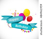 happy birthday card template... | Shutterstock . vector #484961959