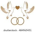 two golden doves flying with... | Shutterstock .eps vector #484965451