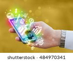 smartphone with finance and... | Shutterstock . vector #484970341
