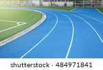 corner of blue running track... | Shutterstock . vector #484971841