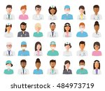 group of doctors and nurses and ... | Shutterstock .eps vector #484973719
