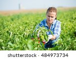 woman farmer kneeling and... | Shutterstock . vector #484973734