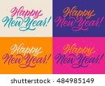 happy new year calligraphy ... | Shutterstock .eps vector #484985149
