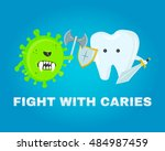 fighting tooth with cavities ... | Shutterstock .eps vector #484987459