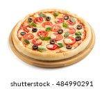 margarita pizza isolated on... | Shutterstock . vector #484990291
