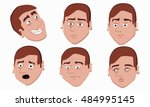 human emotions. men faces on... | Shutterstock .eps vector #484995145