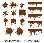vector set of chocolate drops... | Shutterstock .eps vector #484996039