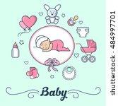 linear flat little girl... | Shutterstock .eps vector #484997701