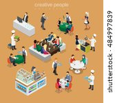isometric flat people in... | Shutterstock .eps vector #484997839