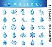 water drop icons set   isolated ... | Shutterstock .eps vector #484998841