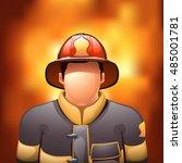 fireman with fire   Shutterstock .eps vector #485001781