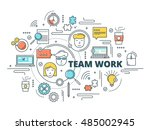 team work linear design... | Shutterstock .eps vector #485002945