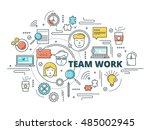 team work linear design... | Shutterstock .eps vector #485002945