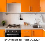 orange kitchen set in modern... | Shutterstock . vector #485003224