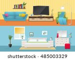 interiors flat compositions... | Shutterstock .eps vector #485003329