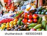 fresh exotic fruits in mercado... | Shutterstock . vector #485003485