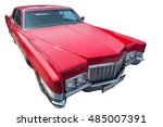 old red american car is... | Shutterstock . vector #485007391