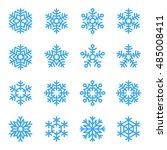 blue snowflakes set for winter... | Shutterstock .eps vector #485008411