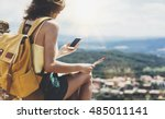 hipster young girl with bright... | Shutterstock . vector #485011141
